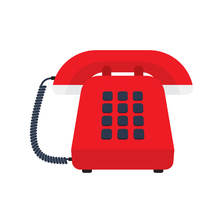 Retro styled telephone. Flat design vector illustration concept