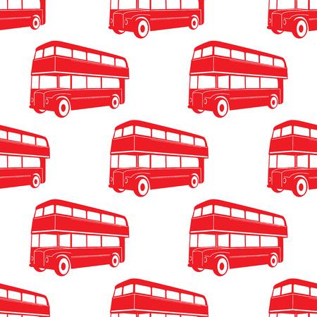 Britisches Muster mit doppelstöckigem rotem Bus. Vektorillustration der öffentlichen Transportmittel der Stadt.