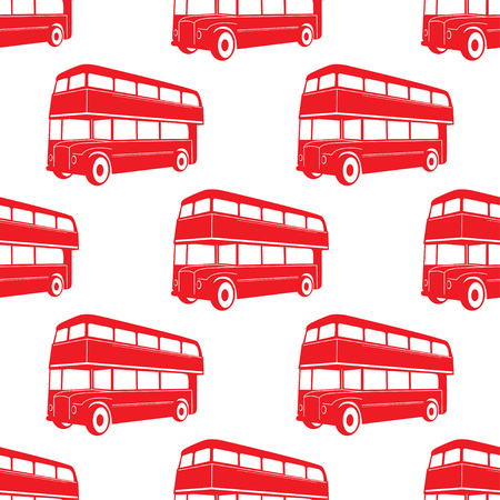 British pattern with double deck red bus. City public transport vector illustration. Vettoriali