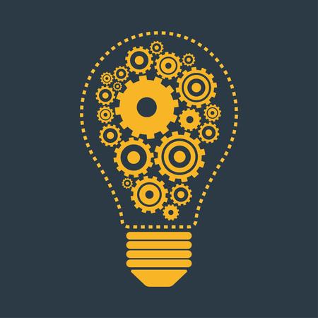 Light bulb and gears. Perpetuum mobile idea concept, vector illustration. Illustration