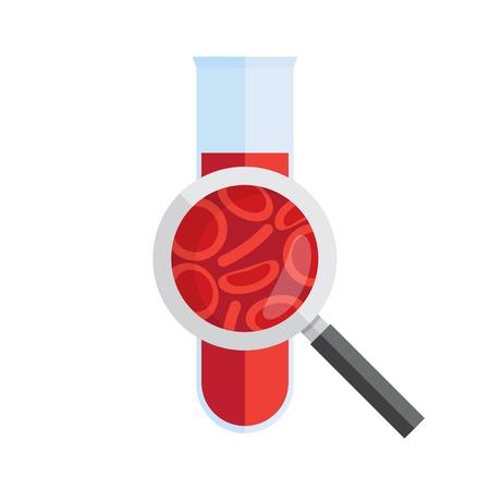 Reagenzglas mit Blut und Lupe. Medizinische Forschung, Analyse. Vektor-illustration Vektorgrafik