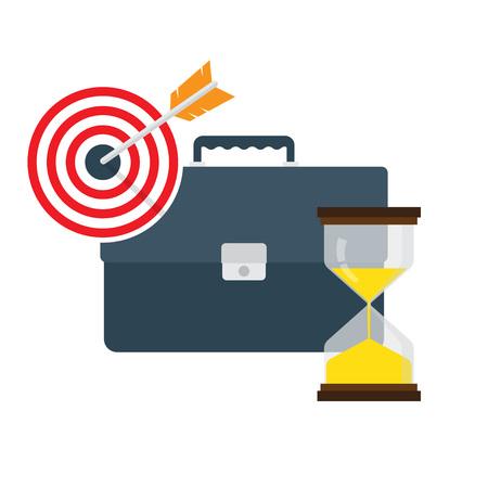 dart board: Time Management Concept. target arrow, hourglass Vector illustration