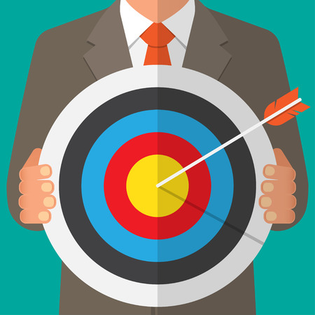 dart board: Business man holding a dart board with a direct hit on target. Vector illustration