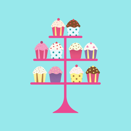 Set of funny muffins presented on a stand Illustration