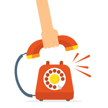 Retro style red telephone ringing. Pick up the phone. vector illustration