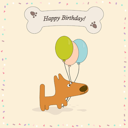 Happy birthday greeting card with cute dog, background with dog, bone, confetti and balloons Illustration