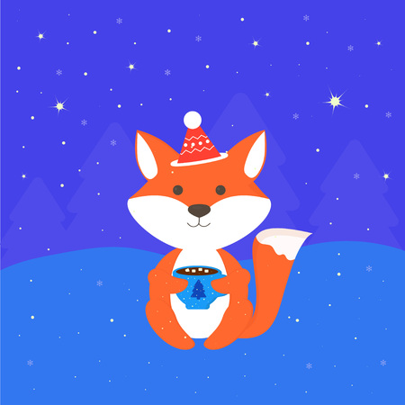 winter card with fox in forest at night, background with funny animal with cup, snowflakes, stars, trees