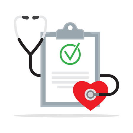 Diagnosis. Medical Report with stethoscope. Vector illustration