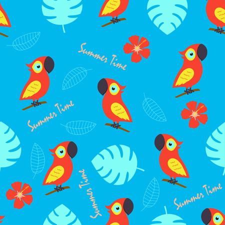 patrón con linda cacatúa y flores y hojas exóticas, fondo con aves, elementos tropicales e inscripciones