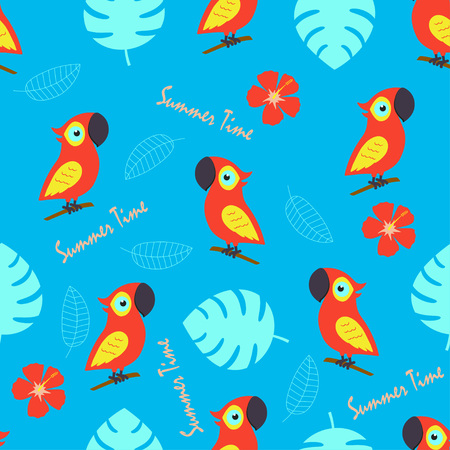 pattern with cute cockatoo and exotic flowers and leaves, background with birds, tropical elements and inscriptions