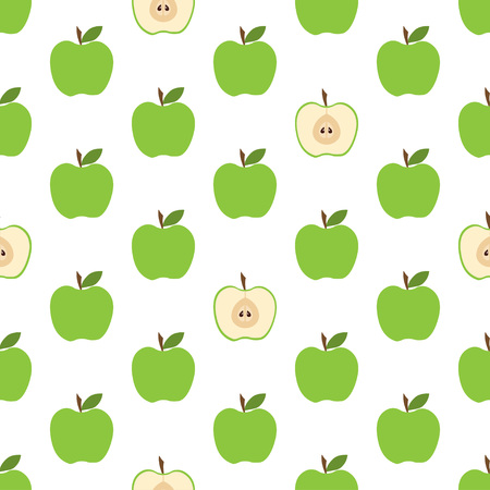 Green Apple Seamless Pattern Background With Cute Fruits Group Of Objects For Wallpaper