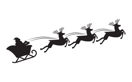 Santa Claus flying in a sleigh with reindeer. Black silhouette. Christmas. New Year.