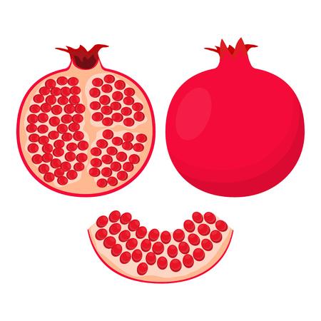 pomegranate isolated on white background, whole and cut pomegranate set, tropic fruit