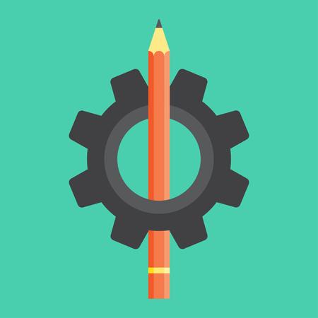 Pencil in the gear icon vector illustration