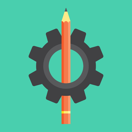 Pencil in the gear icon vector illustration