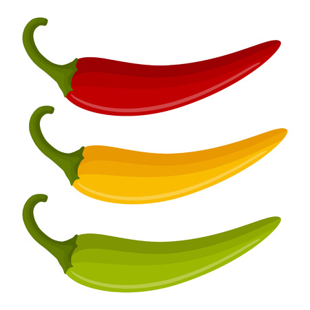 set with multicolor peppers isolated on white background, spicy vegetables, delicious dietary product Иллюстрация