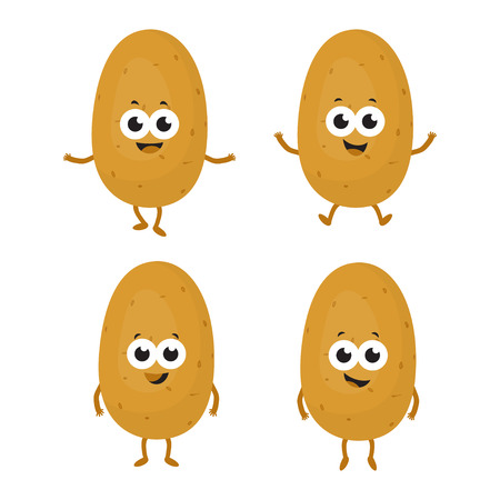set with cartoon potatoes isolated on white, background with cute vegetable characters Vettoriali