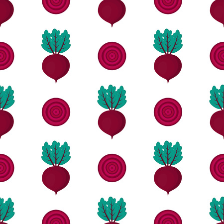 pattern with whole and slice of beet, red cute vegetables on white background Illusztráció