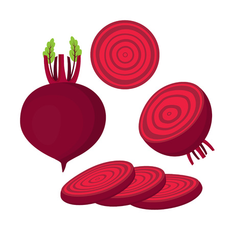 set with whole, half and slice of beet, red vegetables on white background