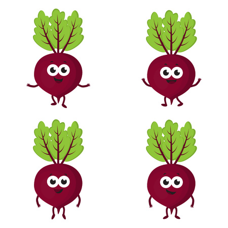 set with cartoon beets, red funny vegetables on white background