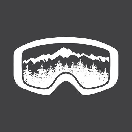 ski goggles with glass reflecting the winter mountains. Vector illustration.