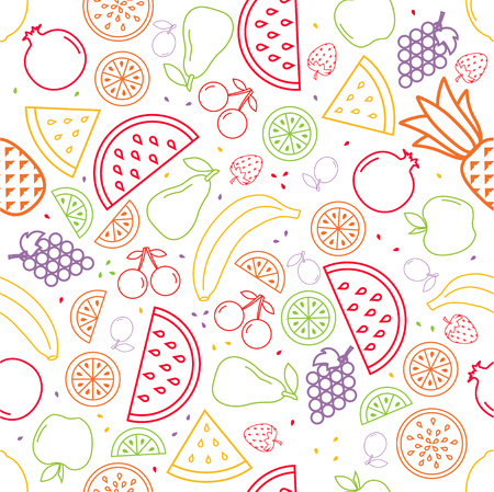 pattern with different fruits and berries, a colorful background with contours