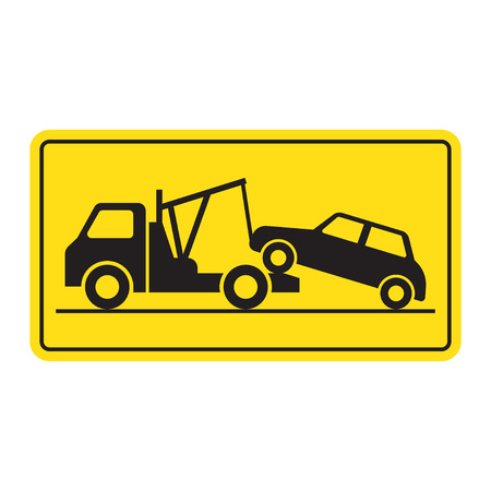 Tow truck city road assistance service evacuator. Parking violation. vector illustration