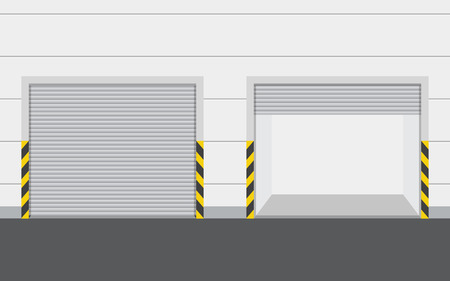 Roller warehouse shutter doors, garage door. Vector illustration