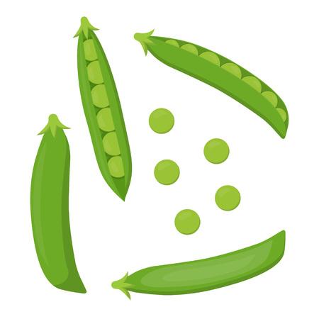 Grüne Erbsen lokalisiert auf weißem Hintergrund, stellen mit den ganzen und offenen Erbsen in den Hülsen ein