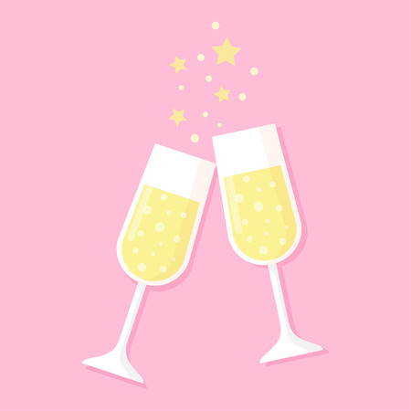 Two glasses full of champagne isolated on pink, valentine s day, new year, birthday. vector illustration