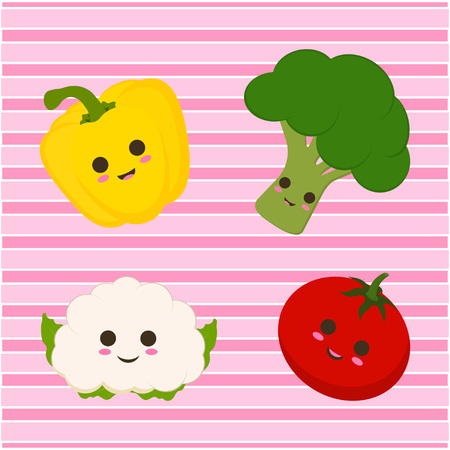 set with funny cartoon tomato, cauliflower, broccoli and pepper on a pink striped background Vettoriali