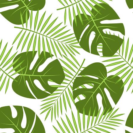 Palmblätter auf weißem Hintergrund, hawaiisches tropisches natürliches nahtloses mit Blumenmuster Standard-Bild - 93834725