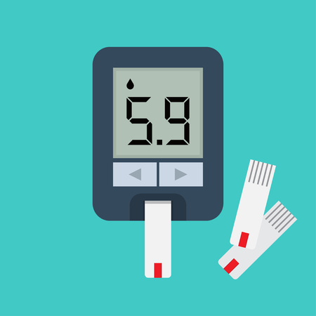 Blood glucose meter. Blood sugar readings. Testing glucose Vector illustration