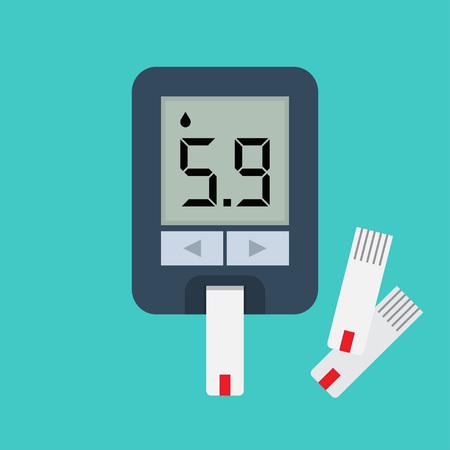 Blood glucose meter. Blood sugar readings. Testing glucose Vector illustration