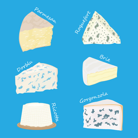 Collection of cheeses parmesan, brie, roquefort cheese, gorgonzola Vector illustration Stock fotó - 94310745