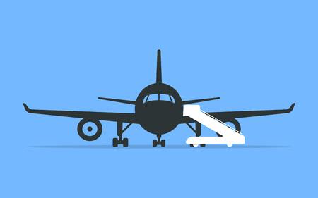 飛行場または飛行場のエプロンで飛行機に搭乗。ベクトルイラスト。