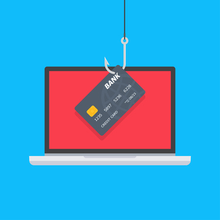 Credit or debit card on fishing hook, internet security. Internet attack on credit card. Data Phishing. Vector illustration Çizim