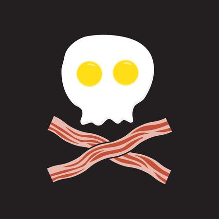 Breakfast. Fried eggs as skull and cross bacon, vector illustration.