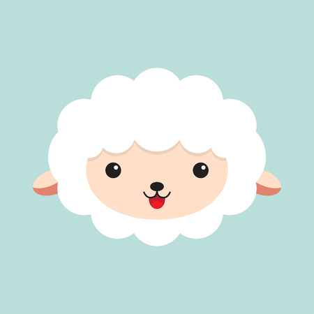 Cute cartoon sheep. head of a sheep. Vector illustration