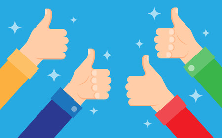 Cheering people holding many thumbs thumbs up, approval, feedback concept. Vector illustration