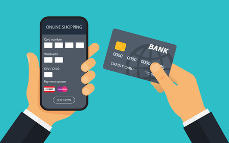 Hand with credit card for payment. Mobile payment. Using mobile smartphone for online purchasing. Vector illustration. Illustration