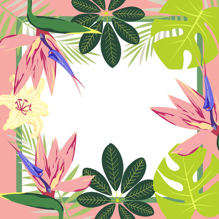 greeting card with flowers in the frame, banner with tropical leaves and flowers for inviting, printing and creating any festive image Stock Illustratie