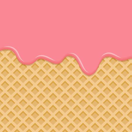 Gaufre sucrée avec glaçage rose. Dessert à la crème rose, fondu sur fond de plaquette. Illustration vectorielle