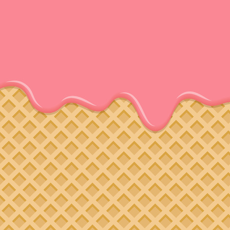 Sweet waffle with pink glaze. Dessert with pink cream, melted on wafer background. Vector Illustration Ilustração