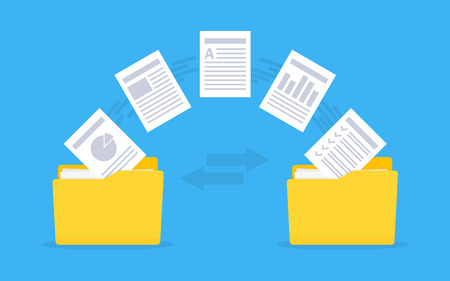 Files transfer Documents management. Copy files, data exchange, backup Vector illustration
