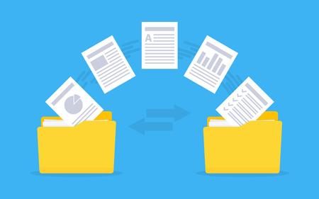 Transferencia de archivos Gestión de documentos. Copiar archivos, intercambio de datos, copia de seguridad de ilustración vectorial