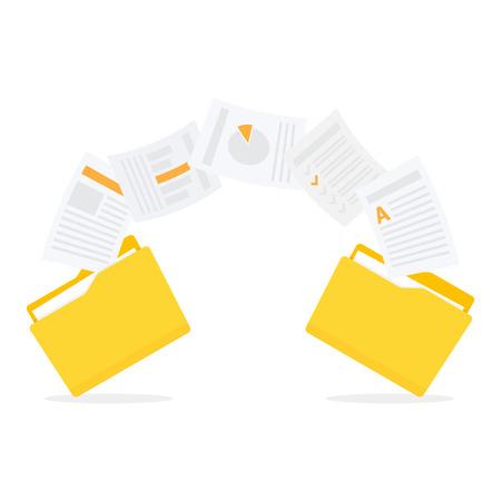 Files transfer. Documents management. Copy files, data exchange, backup Vector illustration