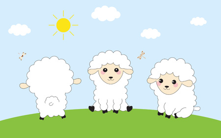 card with three funny sheep in meadow under bright sun and blue sky, banner for Easter or any other event