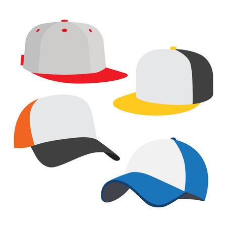 Baseball cap icon set, on white background. Vector illustration Vettoriali