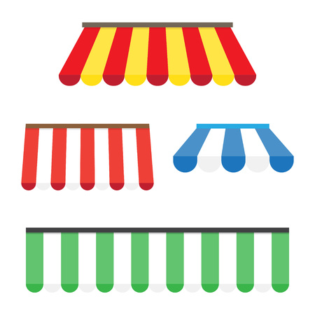 Colorful set of striped awnings for shop and restaurants. Vector illustration